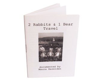 2 rabbits & 1 Bear Travel. A mini book, zine. Photographs and writings on the travels of 3 small creatures. For adults and children