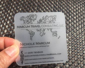 """100 Business Cards - Frosted opaque plastic stock - 20 PT Thick - 2.5""""x2.5"""" square social cards - full color - free rounded corners"""