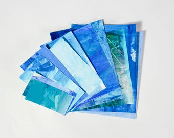 Hand Painted Ephemera Scrap Paper Pack - assorted weight papers for scrapbooking/card making/collage/journaling - blue