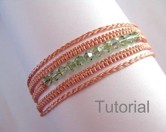 Macrame bracelet necklace pattern tutorial pdf two in one pattern knotted orange green swarovski beads how to micro jewelry instructions diy
