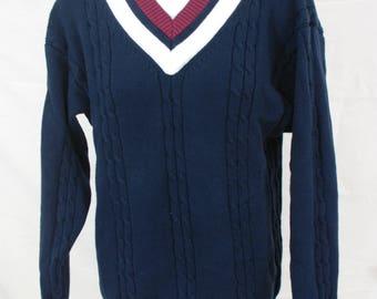 VTG 90s Navy Blue Cheerleader Sweater | Vintage Cotton Varsity Sweater