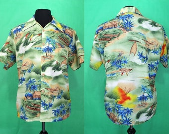 Hawaiian  Shirt.....70's Poly Hawaiian Seascape hawaiian Shirt Aloha Shirt Luau Shirt Tiki Shirt