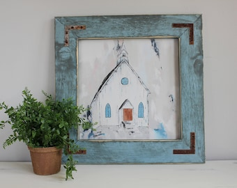 Fine Art Print, Giclee Print, Country Church Painting, Abstract Art Print, Farmhouse Style, Neutral Painting, Blue