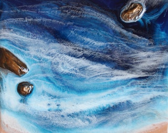 """8"""" x 8"""" Blue Ocean Painting with 3D Rocks - """"Copper Tone"""""""