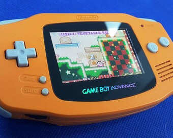 Orange Gameboy Advance Backlight Mod with Glass Screen Cover