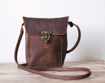 Small cross body bag, leather cross body bag, brown leather bag, phone bag, handmade, natural leather bag, phone purse, rustic bag