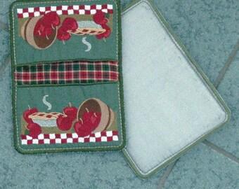 """Potholder / Apple Potholder / Embroidered Potholder / Apples """"In-the-Hoop"""" Embroidered Potholders"""