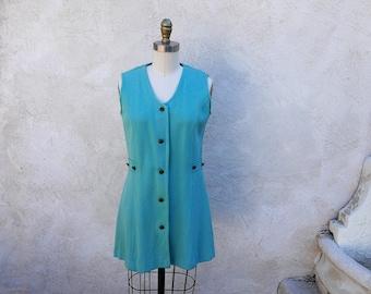 Mod 60s Blue Jumper, Sleeveless Brass Button Mini Dress