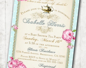 Tea Party Baby Shower Tea Party Invitation - Floral, Vintage, Pink, Aqua, Gold, Roses - DIY Printable