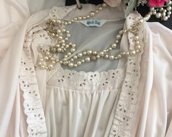 L/ Movie Star Peignoir Set / 1950's Robe & NIghtgown / Gown / Long / Large