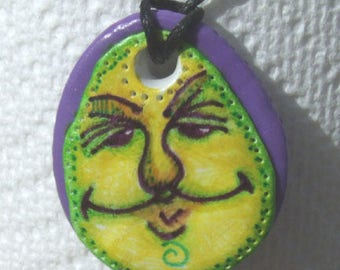 Fun Face #FP104 Pendant, hand made by Julie Pencall