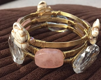 Wire wrapped bangles, Set of 3 wite bracelets, Elegant wire wrapped, Wire wrapped bracelets.