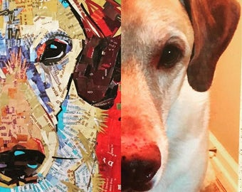 Custom pet portrait in paper collage