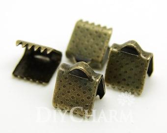 Bronze Tone Ribbon Clamps Ribbon End Crimps 6x5mm - 100Pcs - FQ23094