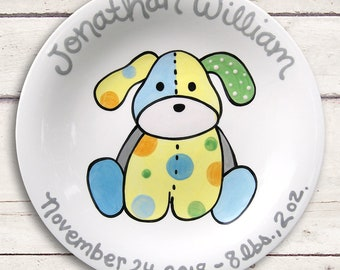 Custom Made Baby Plate - Preppy Baby Boy - Puppy Plate - Modern Baby - Personalized Baby Boy Nursery Decor - Kids Dinnerware - Gray and Blue