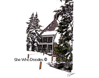 Print of Original Hand Doodled Photo of Historic Timberline Lodge on Mt Hood in Oregon