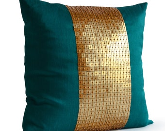 Teal Pillow Cover, Turquoise Throw Pillow, Color Block Pillow, Teal Gold Sequin Pillow, Housewarming Gift, Anniversary Gift, Sequin Pillow
