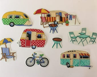 8 iron on fabric camping and caravan motifs/patches including caravans/ bbq, bicycle and deckchair