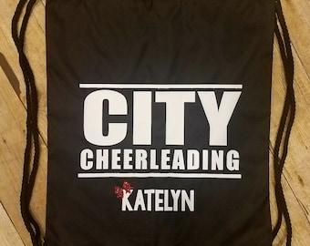 CUSTOM & PERSONALIZED Drawstring Backpacks | Cheer | Dance | Summit | Sports Bag