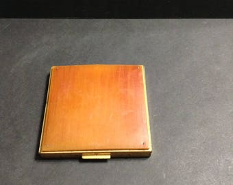 Vintage square compact case, gold tone and brown plastic, most likely Lucite, heavier compact.