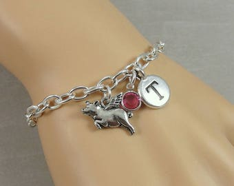 Pig with Wings Bracelet, When Pigs Fly Bracelet, Initial and Birthstone Bracelet, Silver Plated Link Charm Bracelet