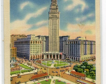 Public Square Union Terminal Tower Cleveland Ohio 1939 linen postcard