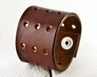 Distressed Leather Jewelry Cuff Brown Vintage Belt