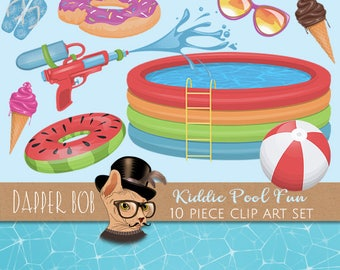 Kiddie Pool Water Pistol Clip Art Set