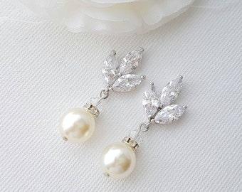 Crystal Bridal Earrings Wedding Earrings Necklace Set Swarovski Pearl Drop Earrings Cubic Zirconia Pearl Wedding Jewelry, Adali