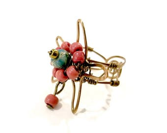 Starfish Statement Ring with Natural Turquoise and Red Glass Beads #1218