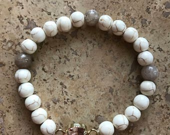 White Turquoise Bracelet with Pink Charm