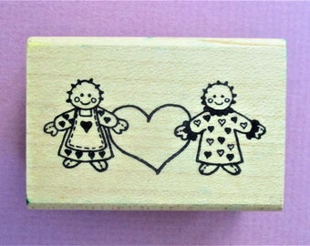 Rag Dolls with Heart Papercraft Rubber Stamp Scrapbooking Craft Supply Stamp Wood Mounted Stamp DIY Card Making Greeting Cards Invitations