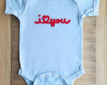 I love you Newborn, I love Mommy Baby one piece, I <3 Daddy infant one piece