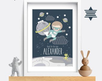 Baby Nursery print. Baby nursery decor. Nursery wall art. Space themed nursery. Baby name print. Baby boy gift. Baby name poster