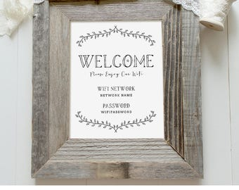Wifi Sign Template, Wifi Password Printable, Welcome Guest Room Sign, Internet Sign, 100% Editable, Instant Download, 5x7, 8x10 #101WF