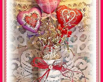 "E Pattern - Martha Smalley's Apple Tree Cottage Designs - ""Valentine Lollipops"""
