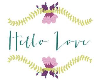 Hello Love - Blank Notecard - Greeting card
