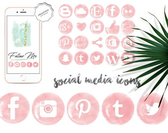 Pink watercolor social media icons - Pink social icons - Beauty blog design elements - Watercolor clipart - Blogger icons - Website design