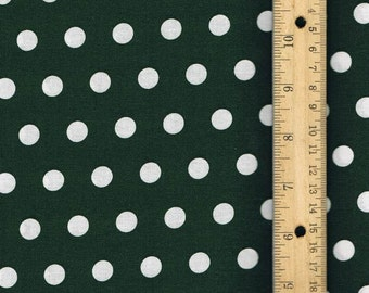 Polka Dot Fabric, Hunter Green Fabric, Fabric by the Yard, sewing fabric, Fall Fabric