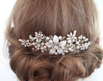 Wedding comb - ivory gold and blush pink- romantic -hair comb