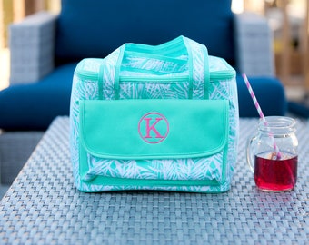 Poolside Palm Monogrammed Cooler Bag, Personalized Summer Beach Bag