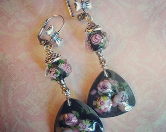 Lampwork and Enameled Rose Earrings, Black and Pink Earrings, Garden Wedding Vintage Style Romantic Earrings, Silver Earrings, Artisan SRAJD