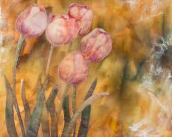 Encaustic art - Tulips  - encaustic with hand painted fabric