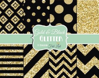 Black and Gold Glitter, Formal Evening, Chevron, Stripes, Polka Dots, Digital Paper, 12x12, Scrapbook