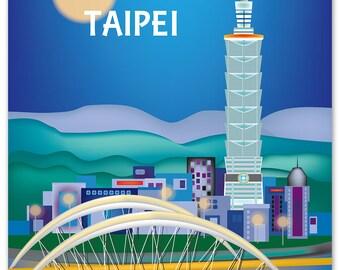 SALE Taipei Skyline Print, Taiwan Vertical Print, Taipei Travel Art Print, Taipei Office Print, Taipei Poster Print, style W-8-TAI