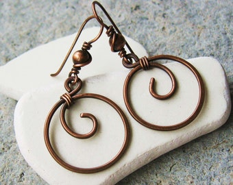 All Copper Wire Wrapped and Hammered hoop dangle earrings with antiqued copper beads