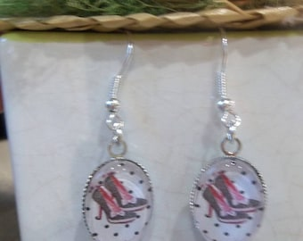 earring cabochon glass shoe