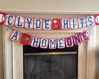 Baby's First Birthday Baseball Banner, baby hits a homeONE, Baseball theme baby's first birthday party, baseball birthday banner