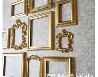 Gold PICTURE FRAME SET - wall gallery - collection of 10 - Vintage Style - photo frame - shabby chic - home wedding - glass & backing