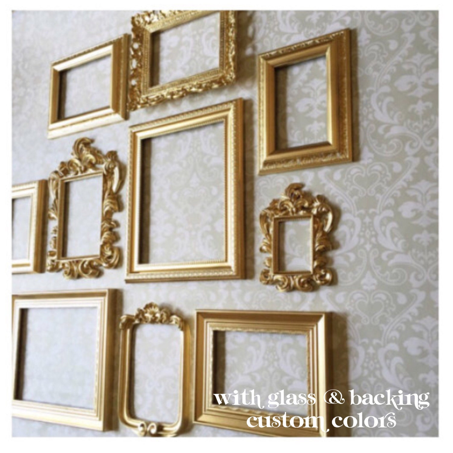 Gold picture frame set wall gallery collection of 10 zoom jeuxipadfo Gallery